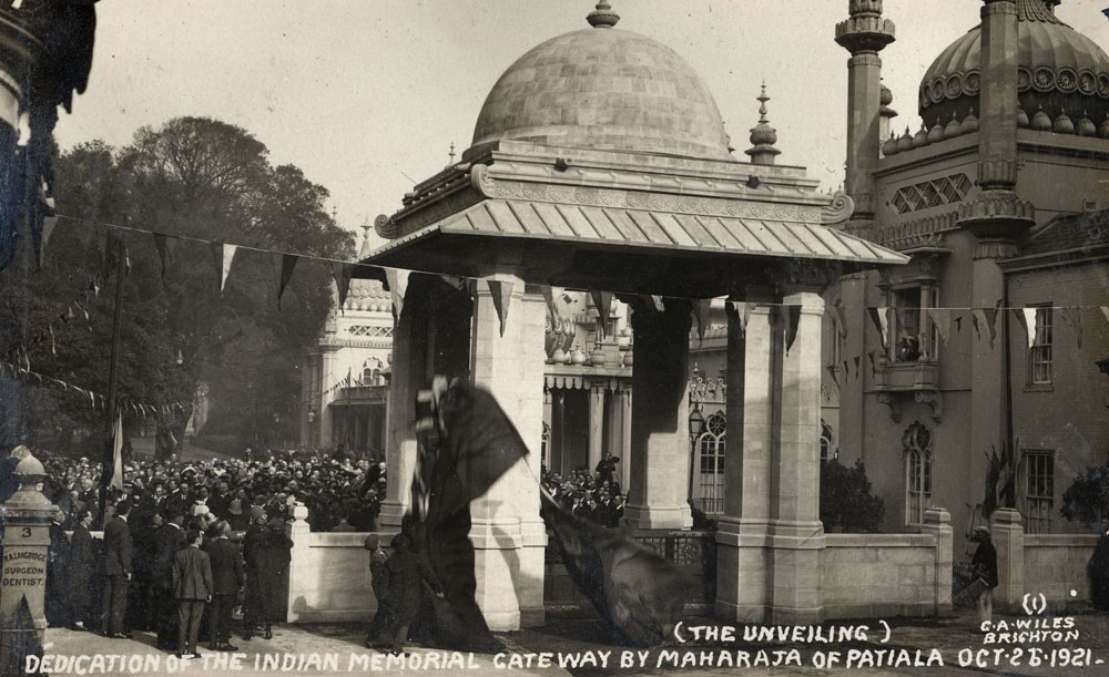 Dedication (Unveiling) of the Indian Memorial Gateway. Royal Pavilion. Brighton. By Maharajah of Patiala