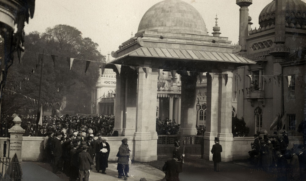 Dedication (Unveiling) of the Indian Memorial Gateway. Royal Pavilion. Brighton. By Maharajah of Patiala