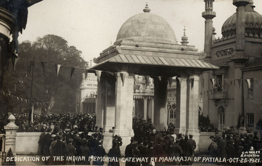 Dedication (Unlocking the gate) of the Indian Memorial Gateway. Royal Pavilion. Brighton. By Maharajah of Patiala
