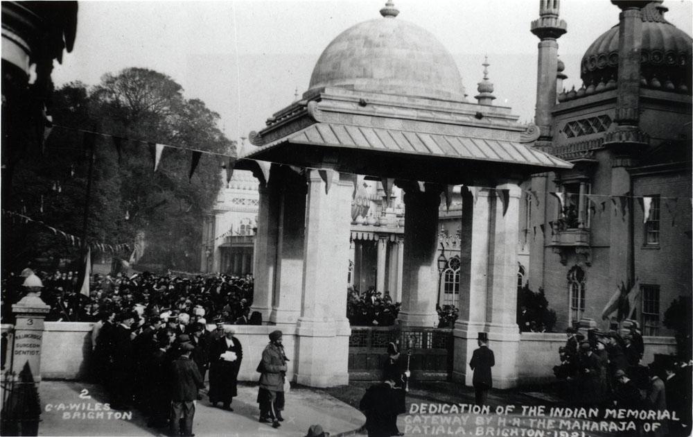 2. Dedication of the Indian Memorial Gateway by H.H. Maharaja of Patiala. Brighton. 1921