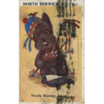 Thumbnail image for A WHIMSICAL POSTCARD DEPICTING A SCOTTIE DOG PLAYING BAGPIPES, BEARING THE LEGEND 'NORTH BERWICK IS A PLACE'.