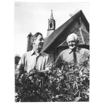 Thumbnail image for Ted Beddall (right) and Sid Chance, in front of their former infants school at Clent, near Stourbridge