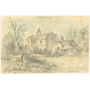 Pencil and wash sketch entitled 'Jessops Well', showing Stoke D'Abernon church, by J Hassell (signature in pencil overwritten in ink)