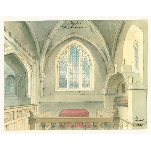Watercolour of altar and tombs in Stoke D'Abernon church, by E Hassell (signed in ink)