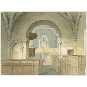 Watercolour of Stoke D'Abernon church interior 'looking west', (showing view of nave from chancel), by E Hassell (signed in pencil)