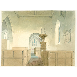 Watercolour of Stoke D'Abernon church interior 'looking east' (showing view of nave pews and pulpit, chancel arch and east window), by E Hassell (signed in pencil). With photographic copy bearing notes on the features depicted