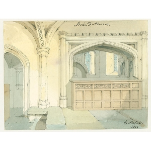 Watercolour of north aisle from the chancel of Stoke D'Abernon church, by E Hassell (signed in ink). With photographic copy