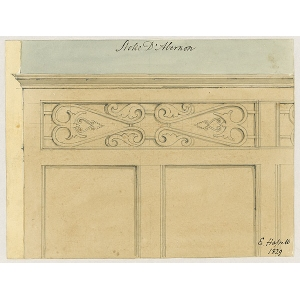 Watercolour of detail of panelwork on the front of a tomb in the chancel of Stoke D'Abernon church, by E Hassell (signed in ink)