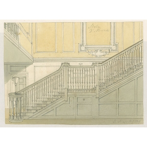 Watercolour of 'Mr Smith's staircase and hall, Stoke D'Abernon' [Stoke D'Abernon manor house], by E Hassell (signed in pencil)