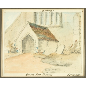 Watercolour of 'Dorking Church Porch Entrance', by John Hassell