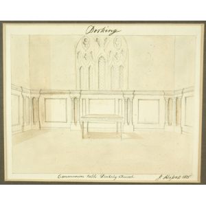 Watercolour of 'Communion table Dorking Church', by John Hassell