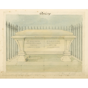 Watercolour sketches of memorial to Robert and Mary Piper in Dorking churchyard by Edward Hassell