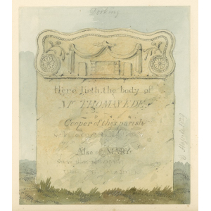 Watercolour sketches of tombstones of Joseph Ede and Thomas and Mary Ede in Dorking by Edward Hassell
