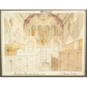 Card mounted watercolour of 'Dorking Church looking east', by Edward Hassell