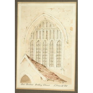Watercolour of 'West Window Dorking Church', by Edward Hassell
