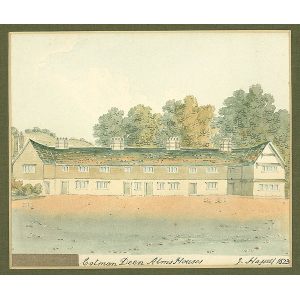 Mounted watercolour of 'Cotman Deen [Cotmandene] Alms Houses', Dorking, by John Hassell