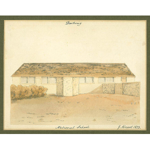 Mounted watercolour of 'Dorking National Schools', by John Hassell