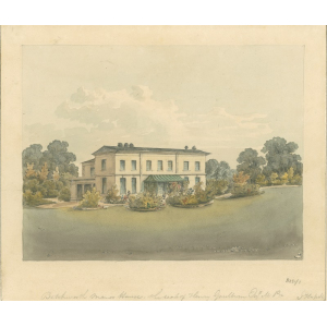Watercolour painting entitled 'Betchworth Manor House, the seat of Henry Goulburn esq, MP'. Signed John Hassell