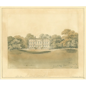 Watercolour painting entitled 'Clandon [Park], the seat of Lord Onslow'. Signed John Hassell