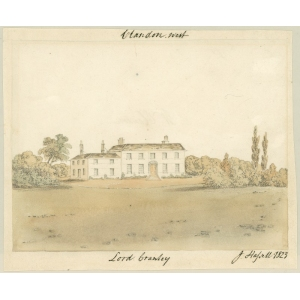 Watercolour painting entitled 'Clandon, West, [the seat of] Lord Cranley'. Signed John Hassell