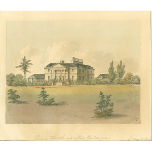 Watercolour painting entitled 'Payne's Hill [Painshill, Cobham] the seat of Lady Carhampton'. Signed John Hassell
