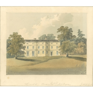 Watercolour painting entitled 'The seat of [blank] Torrens esq, Englefield Green', Egham. Signed John Hassell. Date missing in part
