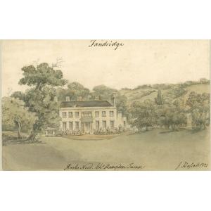 Watercolour painting entitled 'Rooks Nest, Tandridge, [the seat of] Charles Hampden Turner'. Signed John Hassell
