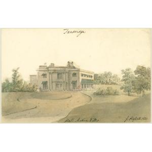 Watercolour painting entitled 'Tandridge Hall, [the seat of] Mathias Wilks'. Signed John Hassell
