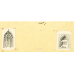 Two miniature pen and ink wash sketches showing Witley church east window (vestry) and aumbry (north chapel). Mounted. [Attributed to John Hassell, 1824; see Bott ibid, p.43]