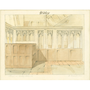 Watercolour drawing entitled 'Skreen in Witley Church', looking west and showing box pews and panelling of stair giving access to the gallery in the north transept. Signed 'E Hassell, 1828'. Mounted