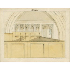 Watercolour wash drawing entitled 'Skreen in Witley Church', looking north and showing box pews and doorway [now possibly positioned at the western entrance to the north chapel]. Signed 'E Hassell, 1828'. Mounted