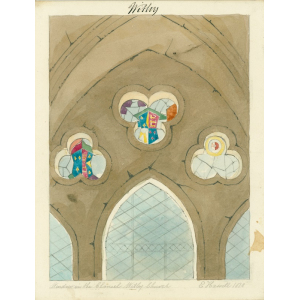 Watercolour drawing entitled 'Window in the chancel [north chapel], Witley Church', showing original positions of royal heraldic stained glass set in arched and trefoil windows. Signed 'E Hassell, 1828'. [See Bott, ibid, p.74]