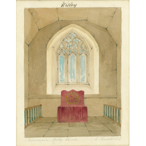 Watercolour entitled 'Communion Witley Church', showing eighteenth century communion rails and stand in the vestry and fourteenth century window behind. Signed 'E Hassell, 1828'. Mounted. [See Bott, ibid, p.74]