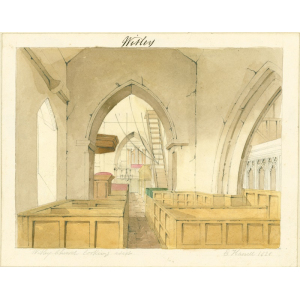 Watercolour entitled 'Witley Church looking west', showing the vestry, box pews, parclose screen, pulpit, chandelier, access to belfry, gallery above and organ in the nave. Signed 'E Hassell, 1828'. Mounted. [See Bott, ibid, p.72]