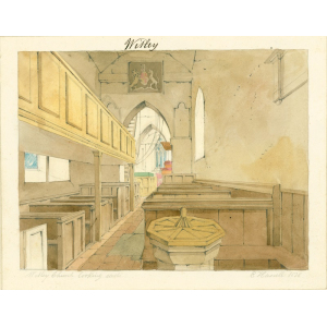 Watercolour entitled 'Witley Church looking east', showing font, gallery, chancel arch, ladder access to belfry and pew. Signed 'E Hassell, 1828'. Mounted. [See Bott, ibid, p.72 ]