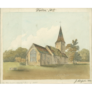 Watercolour of church of St Peter, Walton on the Hill. Signed J[ohn] Hassell, 1824. With note that the church tower shown 'was pulled down in 1817'.