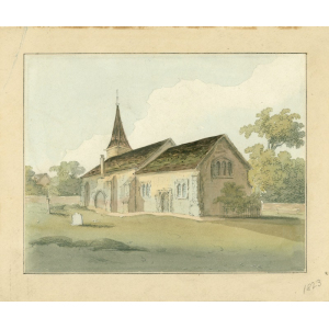Watercolour of Woodmansterne church by John Hassell