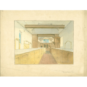 Watercolour of interior of Woodmansterne church looking east, showing box pews, pulpit and altar. Not signed, but probably by John or Edward Hassell.
