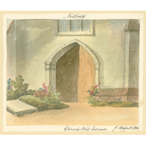 Nutfield church, exterior view of west door and lower part of window above. Watercolour by John Hassell