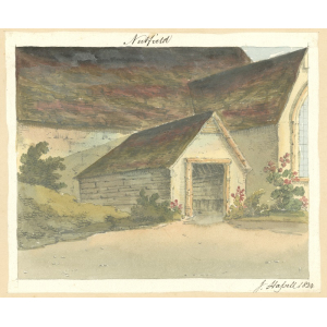 Nutfield church, exterior view of south porch. Watercolour by John Hassell