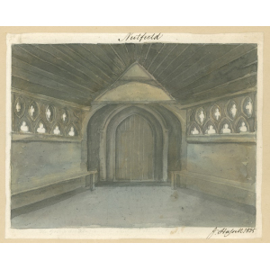 Nutfield church, interior view of [?south] porch, showing pierced quatrefoils in the stonework, not apparent in the 1824 exterior view. Watercolour by John Hassell
