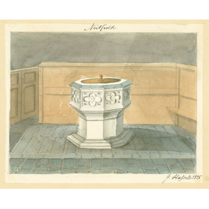 Nutfield church, interior view, showing font. Watercolour by John Hassell