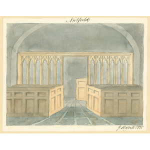 Nutfield church, interior view, showing screen and box pews. Watercolour by John Hassell