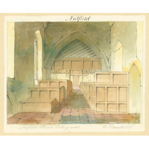 Nutfield church, interior view, looking west, showing box pews in nave and screen in arch at west end. Watercolour by Edward Hassell