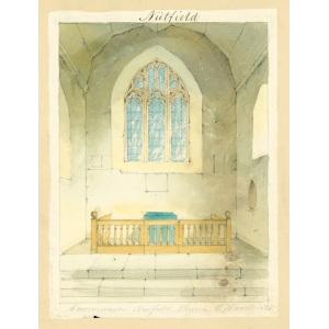 Nutfield church, interior view of chancel, looking east, showing steps, communion rails and east window. Watercolour by Edward Hassell