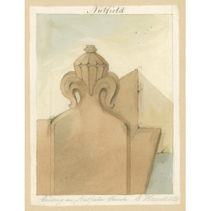 Nutfield church, interior view, showing carving on pew end. Watercolour by Edward Hassell