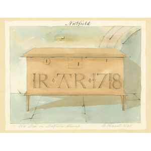 Nutfield church, interior view, showing locked box carved with initials and the date 1718, probably the churchwardens' chest. Watercolour by Edward Hassell
