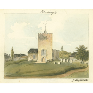 Watercolour by John Hassell of St Mary's church, Bletchingley, from west