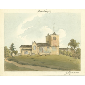 Watercolour by John Hassell of St Mary's church, Bletchingley, from north