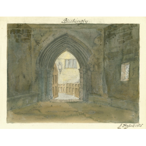 Watercolour by John Hassell of interior of church porch with view into interior through open door